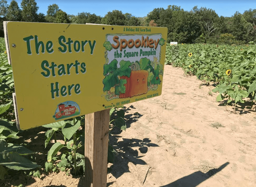 Blooms and Berries Fall on the Farm Features Spookley the Square Pumpkin Storybook Trail