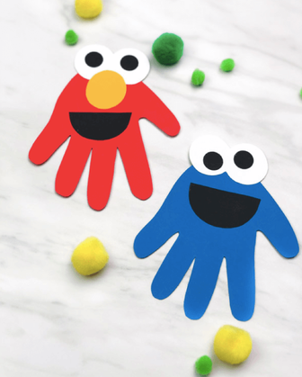 Sesame Street Paper Elmo and Cookie Monster Hand Craft