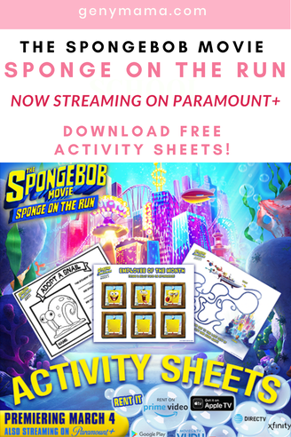 The Spongebob Movie Sponge on the Run Now Streaming on Paramount+ | Celebrate with free printable activity sheets