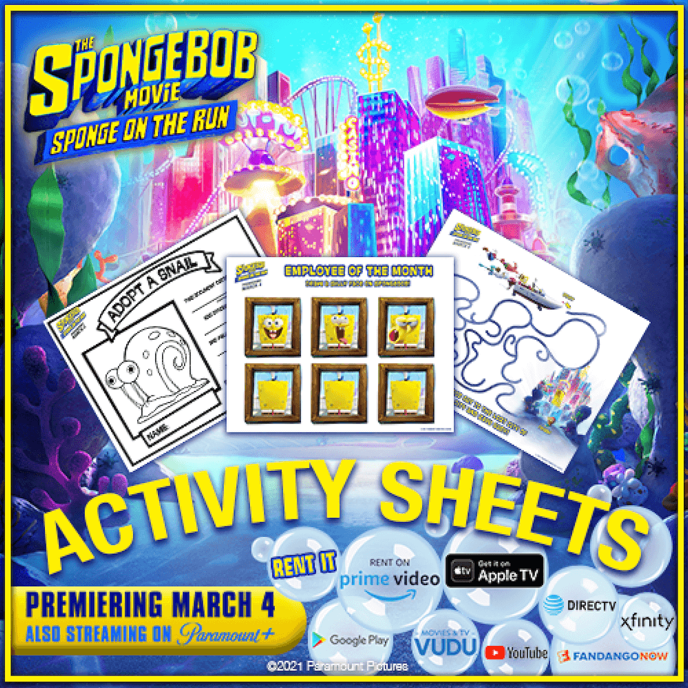 Celebrate the release of The Spongebob Movie Sponge on the Run with these fun activity sheets