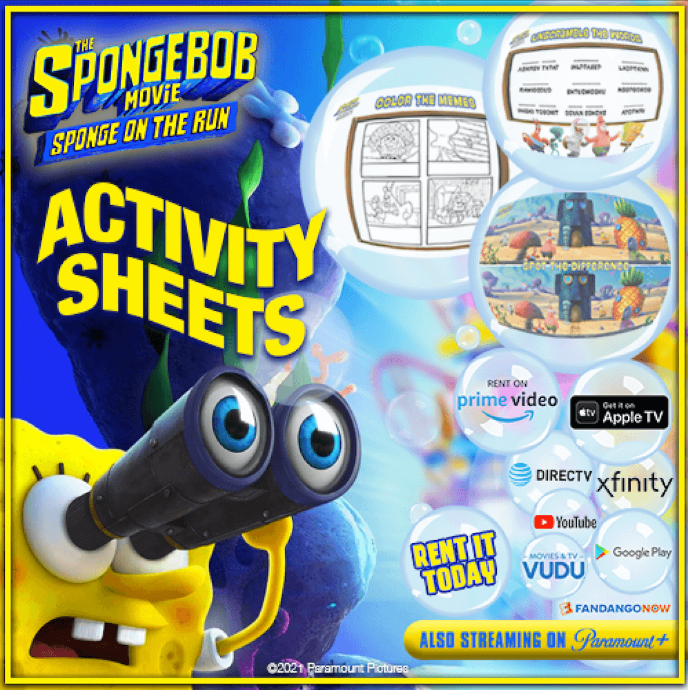 Sponge on the Run activity sheets features connect the dots and spot the difference